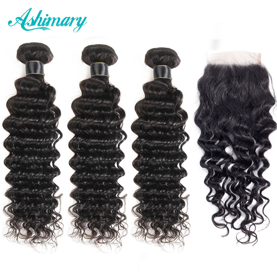 Ashimary Brazilian Deep Wave Bundles With Lace Closure 100% Remy Human Hair Deep Wave 3 Bundles Human Hair With Closure