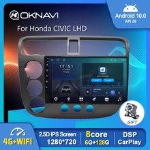 مشغل راديو السيارة لهوندا, مشغل راديو السيارة أندرويد 10.0 6G 128G GPS للوسائط المتعددة لهوندا سيفيك LHD 2000 2002 2004 2006 DSP Carplay Auto 1280*720P 4G WIFI