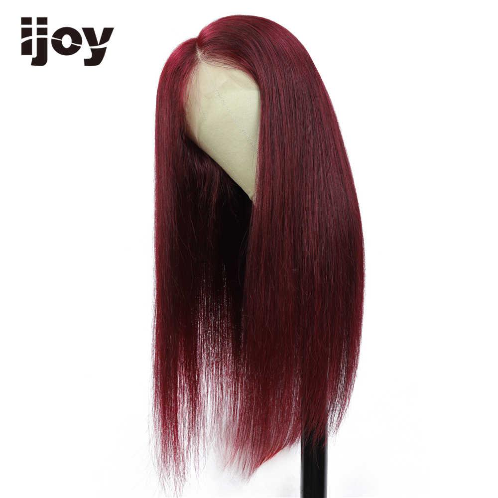 13x4 perucas de cabelo humano frontal do laço 8-28 99j marrom/borgonha peruca reta brasileira colorida vermelha 150% densidade não remy cabelo ijoy
