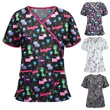 2021 скрабы топ женщины короткие рукав V-образный вырез топы рабочая униформа мультфильм принт блузка уход аксессуары униформа enfermera mujer