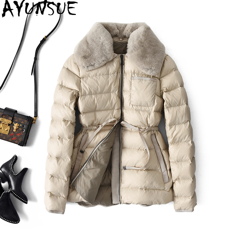 AYUNSUE White Duck Down Jacket Women Winter Puffer Down Coat Rabbit Fur Collar Korean Fashion Womens Down Jacekts A28349 KJ3680