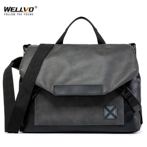 Men Crossbody Messenger Bags PU Leather Ridding Cycling Bag Sling Shoulder Travel Bag Male Large Office Business Handbag XA36C