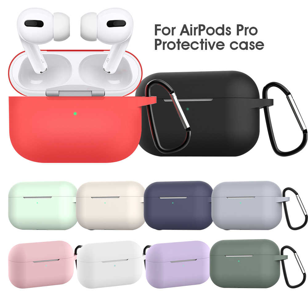 Solid Color Soft Protective Accessories for Apple Airpods Pro Charging Box Case for Airpods Pro Cover Support Wireless Charging