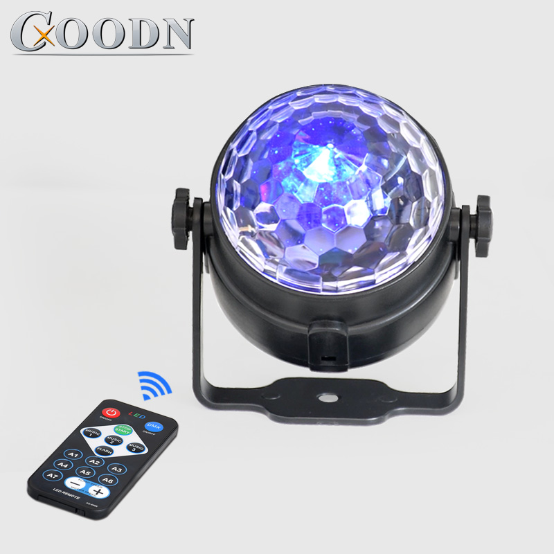 LED Mini Voice Activated Crystal Magic Ball Led Stage Disco Ball Projector Party Lights Flash DJ Lights For Home KTV Bar Car