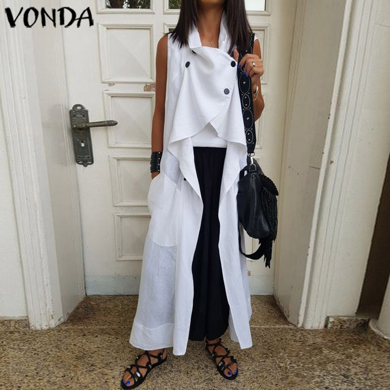 VONDA Fashion Blouses And Tops Solid Color Sleeveless Plus Size Cardigan Loose Pockets Women's Tunic Casual Long Shirts Femme
