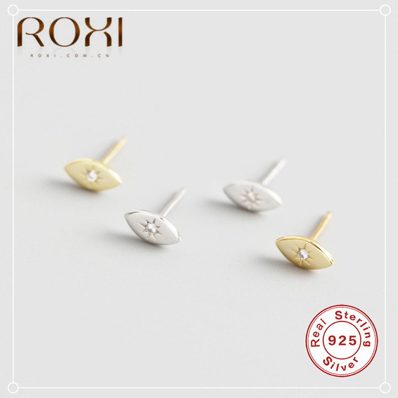 ROXI Europe Design Vintage Eye Shape Stud Earrings 925 Sterling Silver Cubic Zirconia Stud Earrings For Women Fashion Jewelry