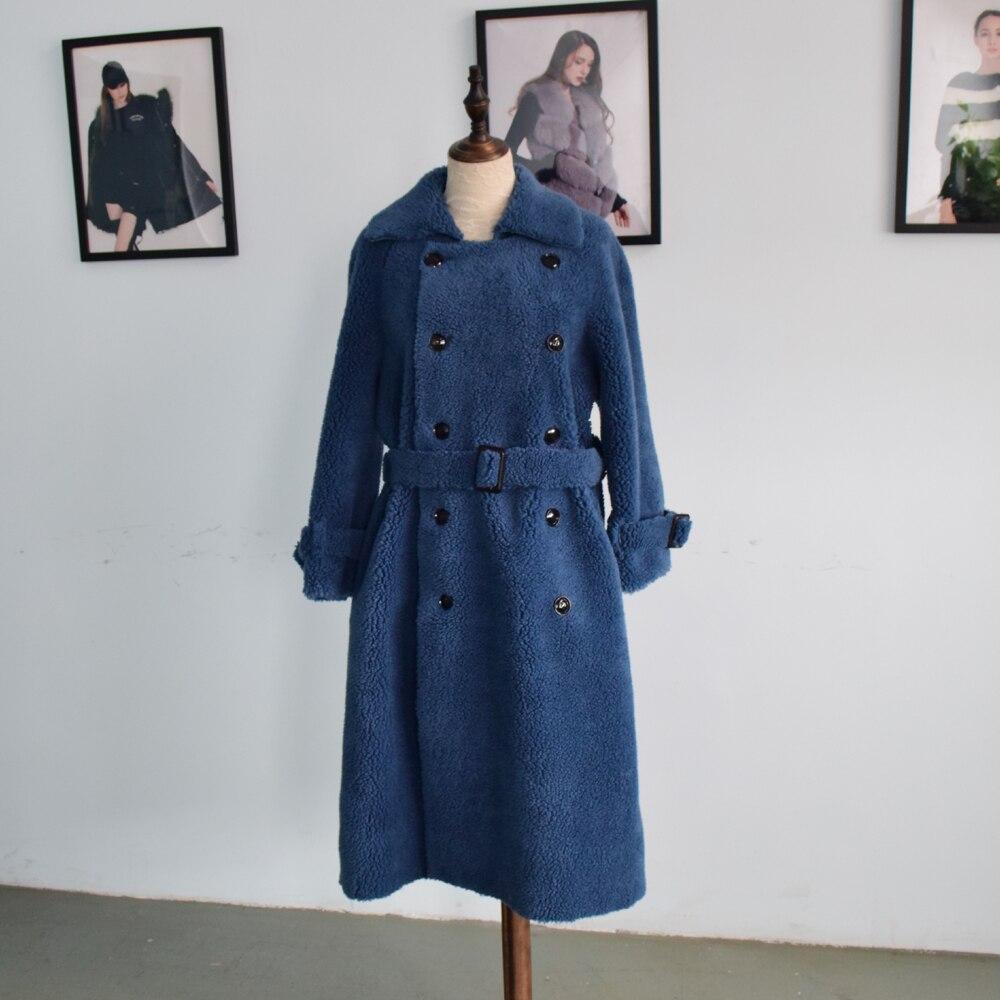 Женская длинная куртка BFFUR, из натуральной овчины, с поясом и отложным воротником, 2019
