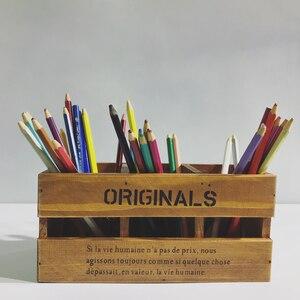 Criativo casa caixa de madeira maciça caixa de controle remoto/caneta titular hoders 3 camada caneta presente recipiente organizador do escritório Escola suprimentos