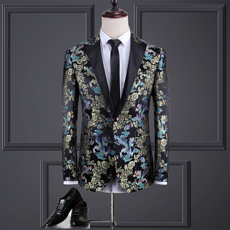 New Vintage Blazer Men Dragon Printing Chinese Style Slim Fit Male Casual Oversize Jacket Floral Personality Blazer Suit