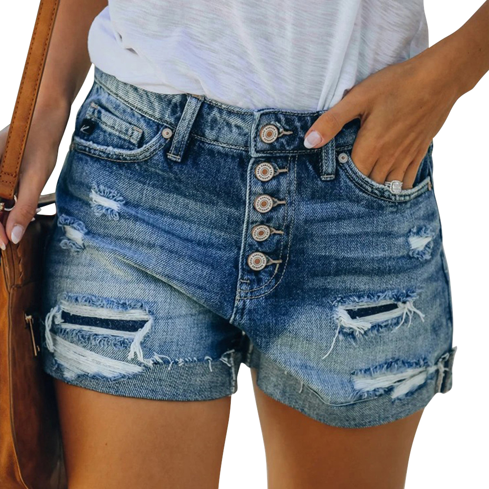 LASPERAL Casual Summer Denim Women's Shorts Cowboy High Waists Tassel Hole Fur-lined Leg-openings Plus  Short Jeans