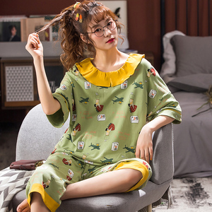 Image 5 - Home clothes for women sleepwear short sleeve sets summer 4XL pyjama femme pijamas womens pajama plus size pajamas for girls