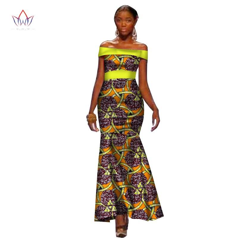 Robes d'été africaines pour femmes Ankara couleur unie Bandage robe Batik cire imprimer hors de l'épaule Maxi robe WY1891