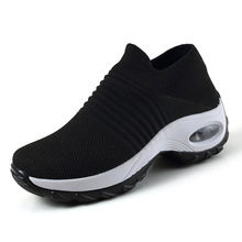Sneakers Shoes Slip for Women Black Breathable Mesh Sock Spring on Flat