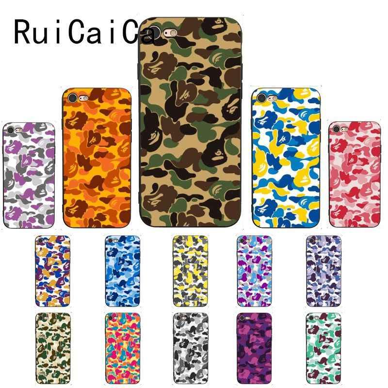 Ruicaica หนวก camouflage APE Man สีสันน่ารักสำหรับ iPhone 8 7 6 6S 5 5S SE XR X XS 11 PRO MAX