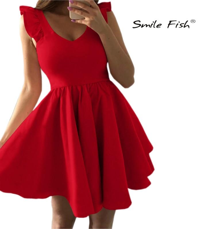 Cute Party Dress Sweet V-neck Mini Dress Ruffles Sleeve A-line Outwear Red Dress 2019 New Kawaill 2XL Plus Size Overalls M0555