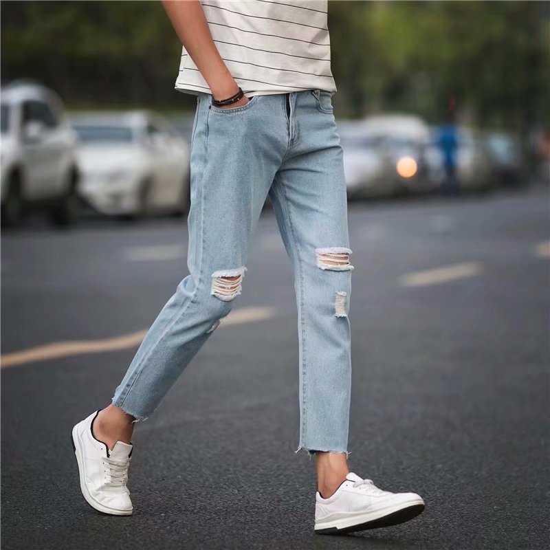 Summer Men Capri Jeans Thin Beggar With Holes Capri Pants Skinny Pants Loose Women's CHIC Trend Pants