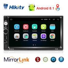 "Hikity Autoradio 7 ""HD, Android 8.1, 7010B, GPS, Wifi, Mirrorlink, 2 Din, lecteur multimédia pour voiture Hyundai Nissian, Toyota"