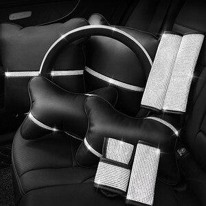 Image 2 - Автомобильная подушка для сиденья, защита для шеи, Кристальный Автомобильный подголовник, поддержка отдыха, путешествия, чехол для колеса автомобиля, подголовник, подушка для шеи на талии