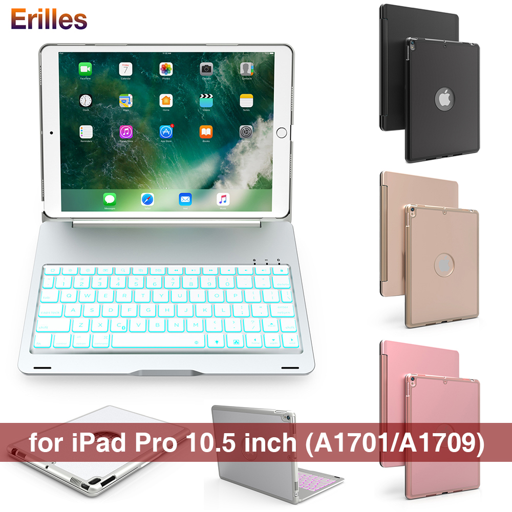 For iPad Pro 10.5 Wireless Keyboard Case BackLight Bluetooth Keyboard Metal Smart Case Flip Cover for Apple iPad 10.5 inch Cases