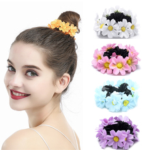 DUOJIAOYAN flower hair band for women girls Outing Elastic hair accessories Multicolor daisies hair rope ring wild hair band female striped wild color large intestine ring elastic band hair ring hair rope hair accessories coconut tree