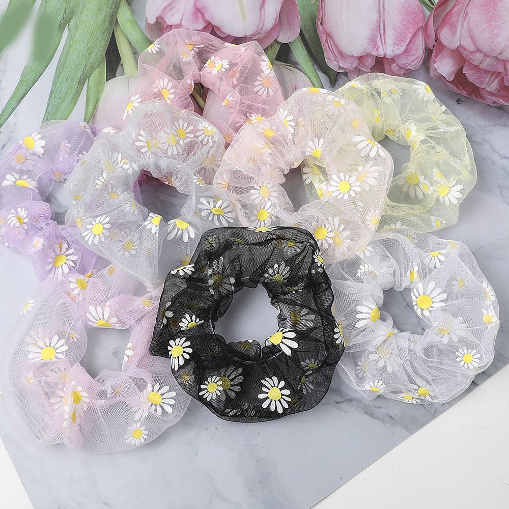 Women Transparent Mesh Print Flower Scrunchies Small Daisies Sweet Hair Ring Girls Elastic Ponytail Scrunchies Hair Accessories