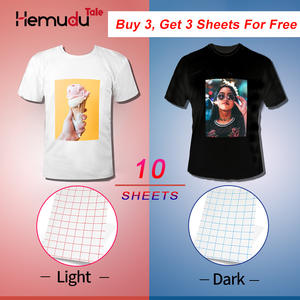 T-Shirt Inkjet Fabric Transfer Photo-Paper Light-Color 10-Sheets Cotton A4 for Dark Garment