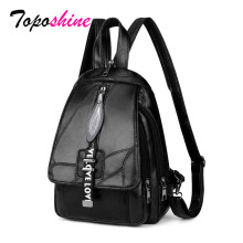 Toposhine Small Women Backpacks Double Pocket Simple Zipper Large Capacity Leisure Travel Cute Girls