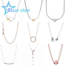 Bule Star 100% 925 Sterling Silver One after another Butterfly flying Double love necklace