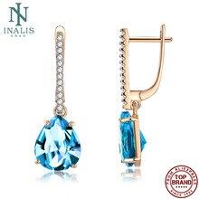 INALIS – boucles d'oreilles en Zircon cubique pour femmes, bijou de fiançailles, en cuivre, bleu, goutte d'eau, cadeau romantique recommandé, 2021