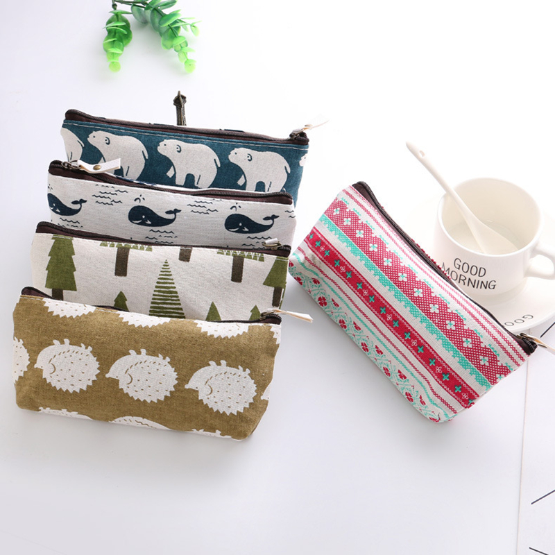 1pcs Pencil Bags Animals Canvas Floral Hedgehog Polar Bear Tree Whale Lovely Pencils Case Stationery School Office Supplies
