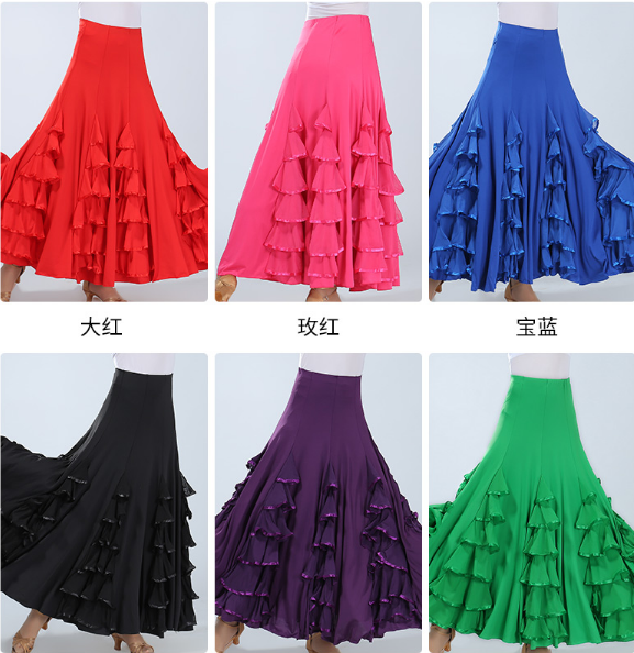 New Flamenco Skirt Latin Salsa Flamenco Ballroom Dance Dress Skirt For Women/ Spain Waltz Tango Dancing Half Skirts