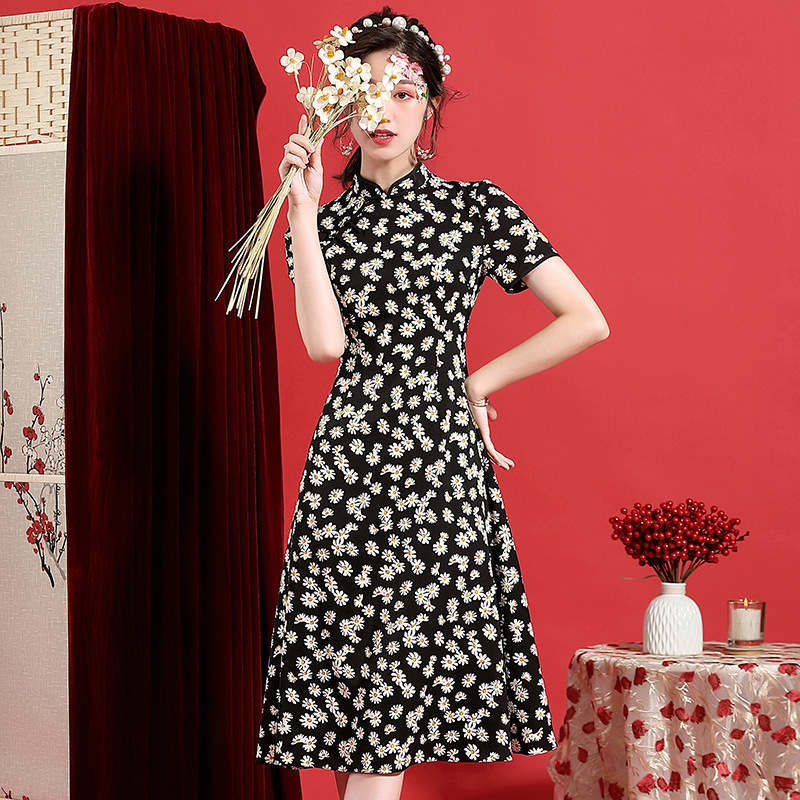 Summer Dress Chiffon 2020 New Vintage Chinese Style Stand Collar Short Sleeved Printed Slim A-Line Black Dress Midi S-XXL