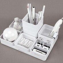 Tenwin לבן כחול DIY שולחן עבודה אחסון מכתבים ארגונית עט מארגן שולחן ציוד משרדי עט מחזיק Stand עבור עטים עיפרון