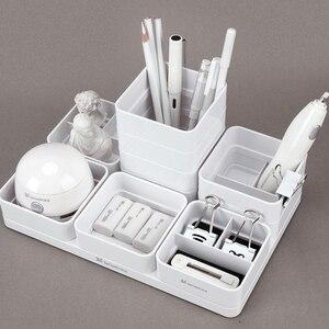 Image 1 - Tenwin أبيض أزرق لتقوم بها بنفسك سطح المكتب تخزين منظم قرطاسية القلم منظم مكتب اللوازم المكتبية حامل قلم حامل للأقلام رصاص