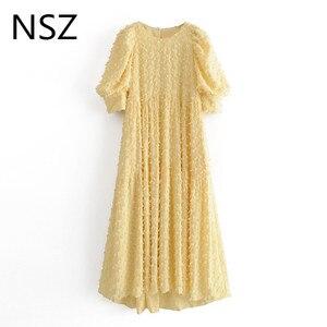 Женское платье с короткими рукавами NSZ, желтое платье миди с круглым вырезом и пышными рукавами, вечерние платья на день рождения