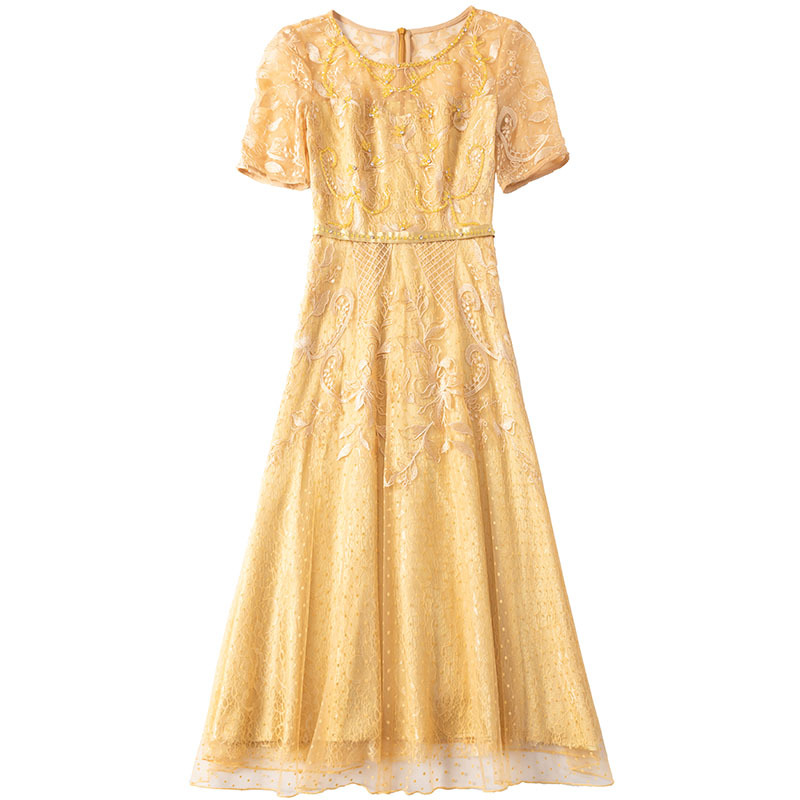 Big SaleÙYarn-Dress Beaded Short-Sleeve Mesh Round-Collar Embroidered Slim Early-Autumn High-Waist