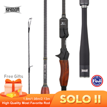 Kingdom SOLO II Carbon Fishing Rod FUJI Accessories 1.8/1.98/2.13m Wooden Handle High Quality Fast Casting&Spinning Lure Rods