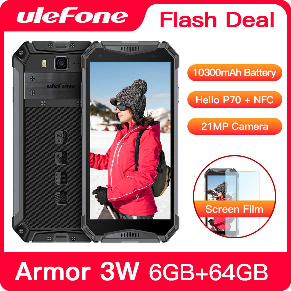 "Ulefone Armatura 3W Smartphone Rugged Android 9.0 IP68 5.7 ""Helio P70 6G + 64G 10300mAh telefono cellulare 4G Dual SIM Del Telefono Cellulare Android"