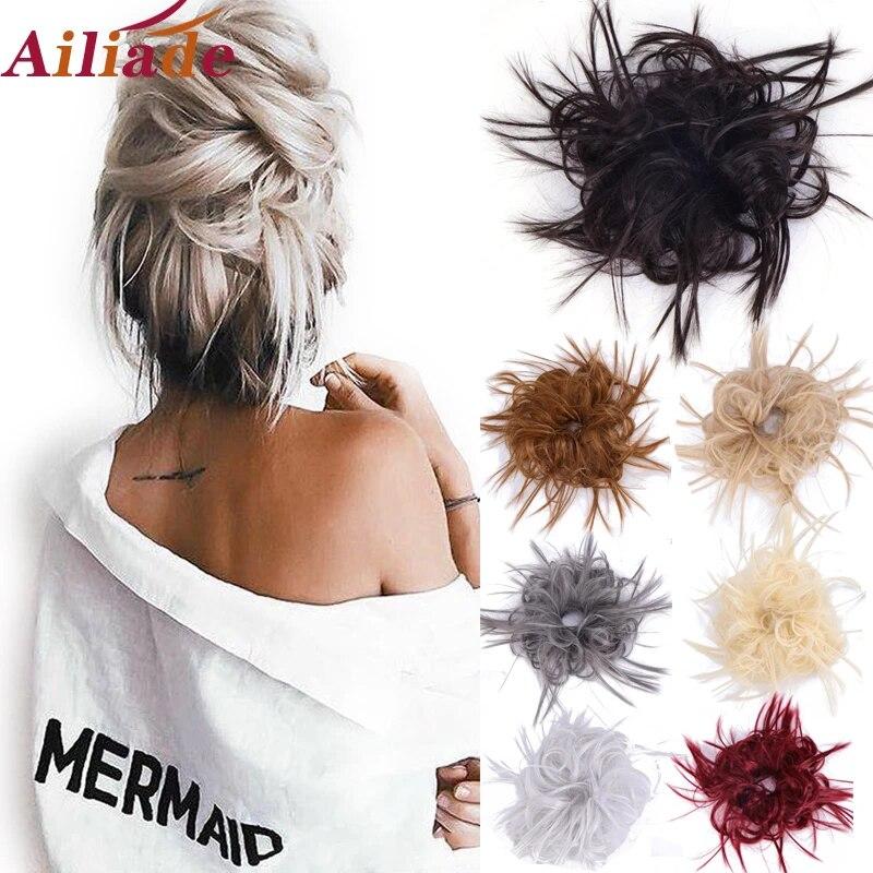 Ailiade Messy Scrunchie Hair Bun Donut Chignon Synthetic Hair Extension High Temperature Fiber Fake Hair Piece For Women Synthetic Chignon Aliexpress