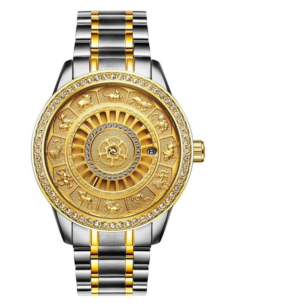 TEVISE Men's Automatic Spiral Watch Waterproof Calendar Vintage Watch Diamond Crown Watch