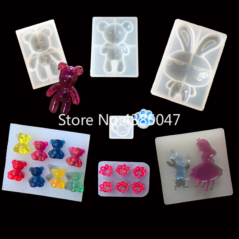 1PC Cat Bear Paw Rabbit Shaped DIY Silicone Mold Dried Flower Jewelry Accessories Tools Equipments Resin Molds