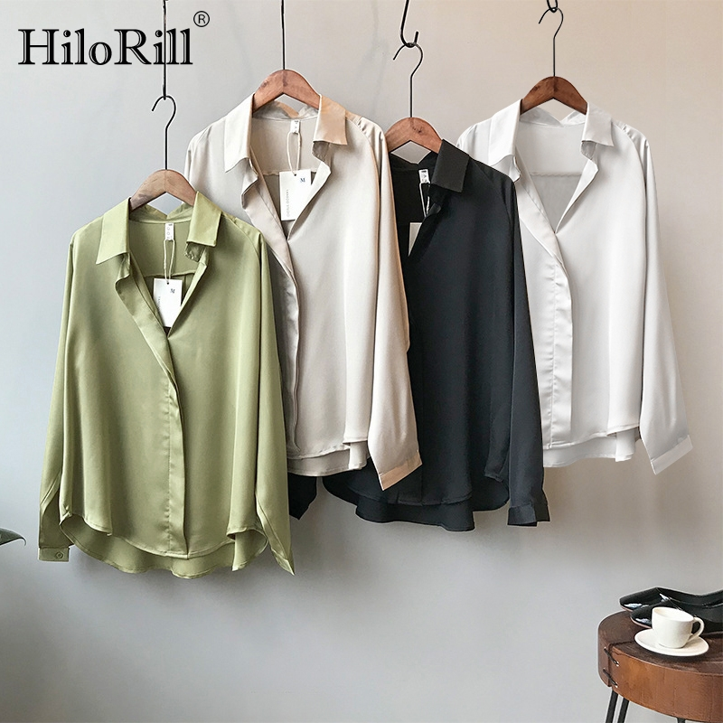 2020 New Elegant Solid Satin Blouse Women Long Sleeve Casual Shirts Ladies Office Loose Turn Down Collar Blouses Tunic Blusas