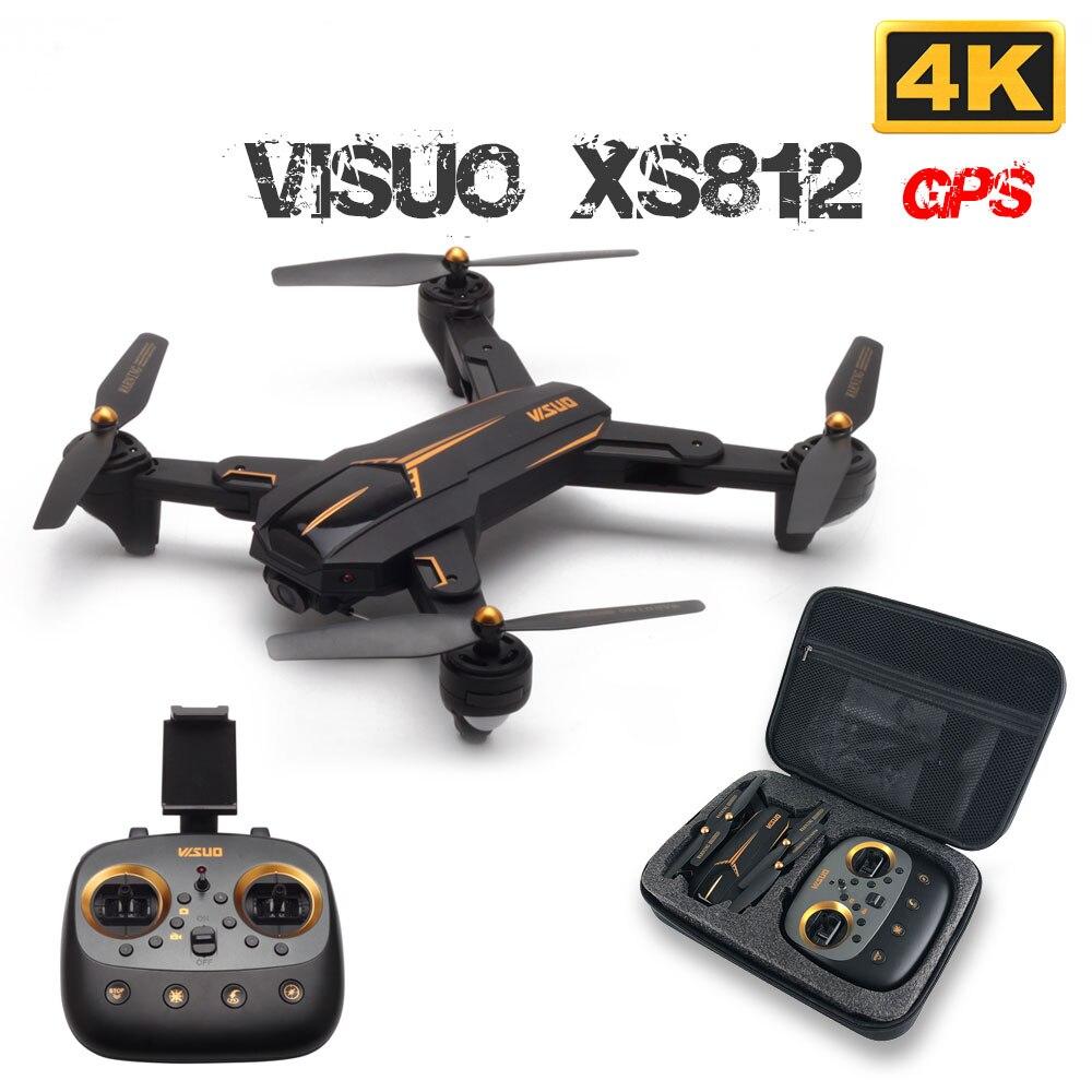 Visuo xs812 gps rc zangão com 4 k hd câmera 5g wifi fpv altitude hold um retorno chave rc quadcopter helicóptero vs xs809s e58 e502s