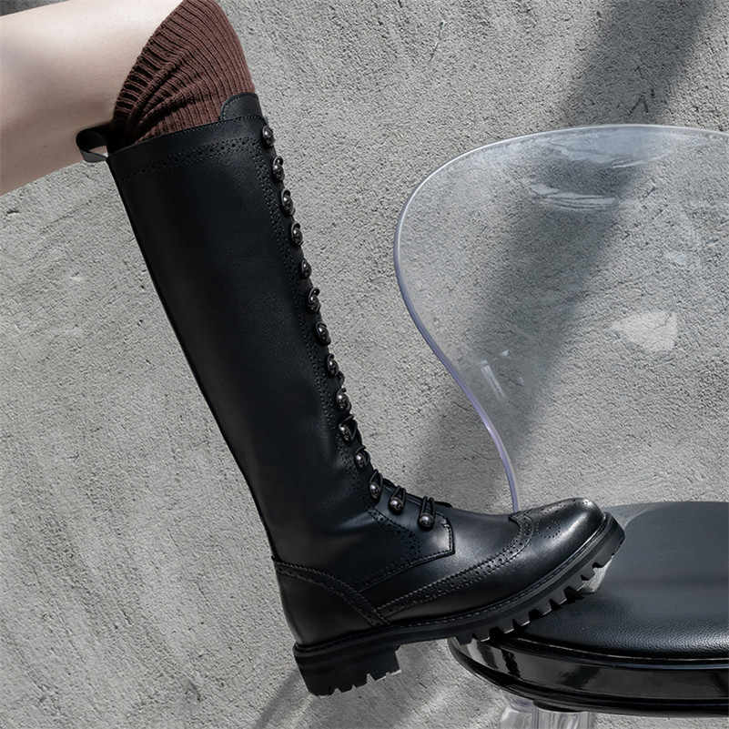 FEDONAS Klassieke Brogue Lange Laarzen Nachtclub Schoenen Vrouw Echt Leer Hoge Hakken Vrouwen Knie Hoge Laarzen Punk Motorlaarzen
