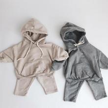 Noworodka zestawy ubrań dla niemowląt jesień chłopcy bluza z kapturem z długim rękawem topy dla dzieci dziewczyny Harem spodnie garnitur zestaw ubrań dla dzieci tanie tanio BOBOTCNUNU Moda Swetry lrj200808019 COTTON Unisex Pełna REGULAR Pasuje prawda na wymiar weź swój normalny rozmiar Płaszcz