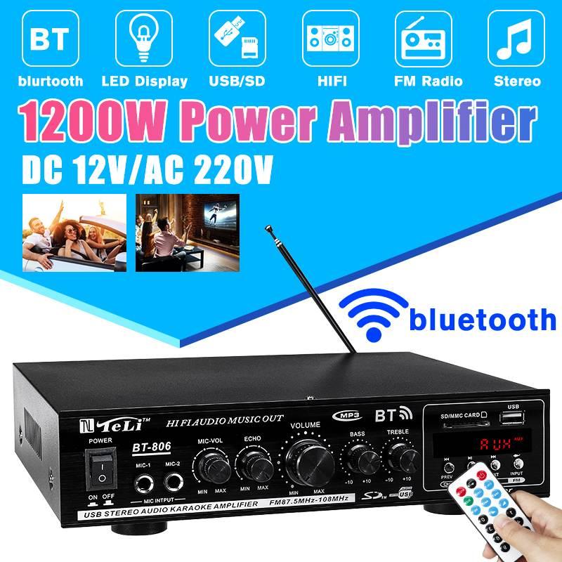 600W Stereo Verstärker Bluetooth Digital Power Amplifier FM Audio Amplifier DE