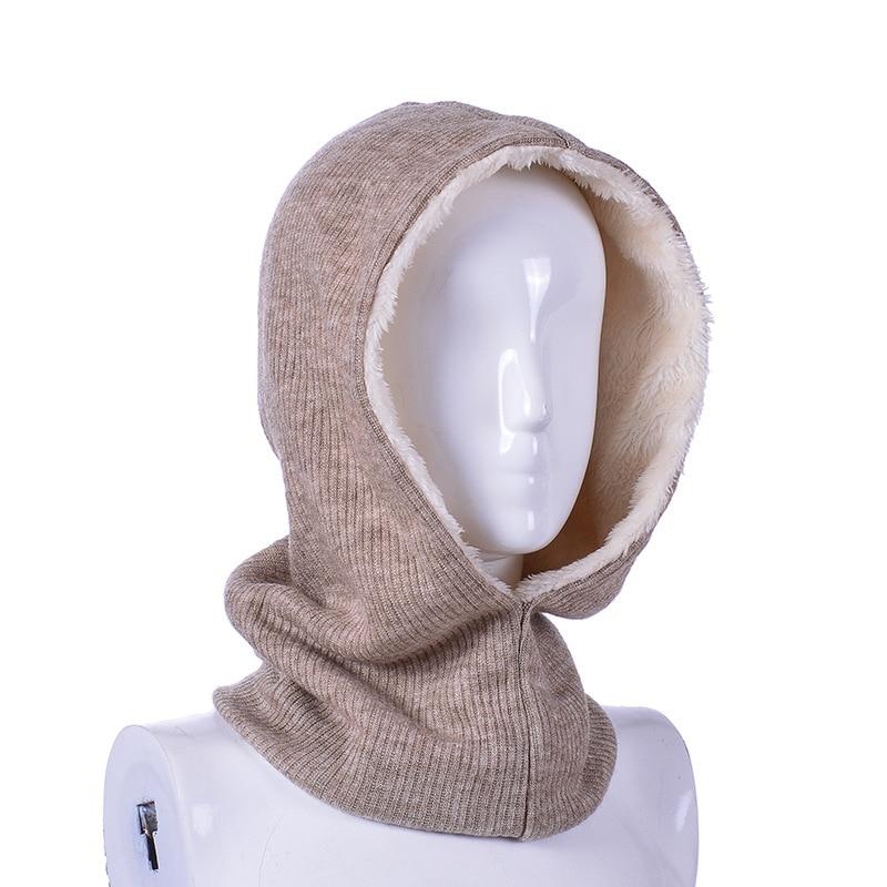 HanXi New Winter Hat Scarf Set For Women Men Knitting Beanie With Velvet Ski Cap Sport Warm Ring Scarves