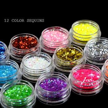 12Colors/Set Nail Glitter Nail Art Sequins Nail Art Glitter Dust Powder Flake Sequins Pigment Nail Glitter Manicure Glitter Dust фото