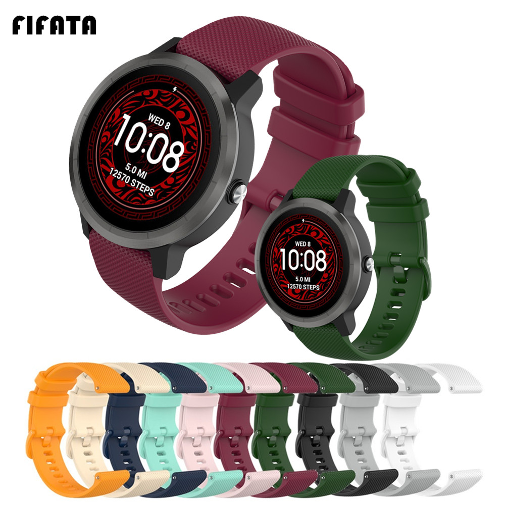 FIFATA 22mm 20mm 18mm Silicone Bracelet For Garmin Vivoactive3 4 4S Smart Watch Band Strap For Vivoactive 4 4S 3 Sport Wristband