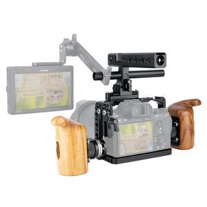 Image 2 - Niceyrigلسوني A7RIII/A7MIII/A7RII/A7SII/A7III/A7II هيكل قفصي الشكل للكاميرا عدة مع مقبض خشبي قبضة HDMI مشبك كابلات أري جبل